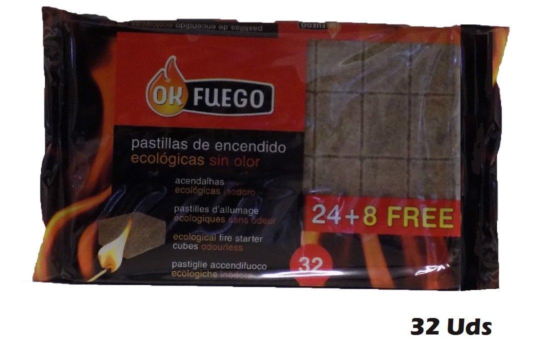 Paquete de 32 pastillas de encendido ECOLÓGICAS SIN OLOR fuego para chimeneas, estufas, barbacoas: Amazon.es: Hogar