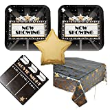 Movie Night Party Supplies - 16 guests - dinner plates, napkins, tablecover, balloon