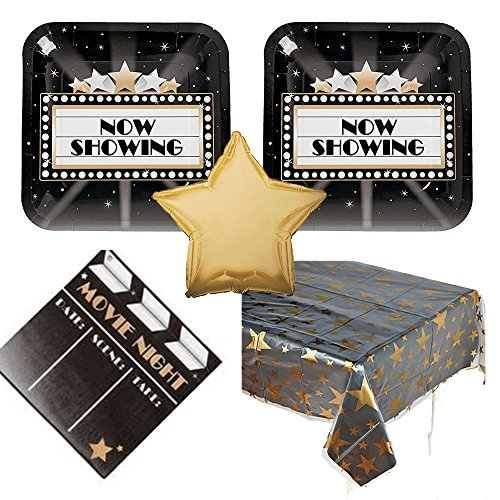 Movie Night Party Supplies - 16 guests - dinner plates, napkins, tablecover, balloon by Creative Converting