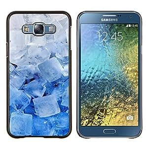 KLONGSHOP // Cubierta de piel con cierre a presión Shell trasero duro de goma Protección Caso - Enfriar los cristales de hielo Azul Blanco Invierno Nieve - Samsung Galaxy E7 E700 //