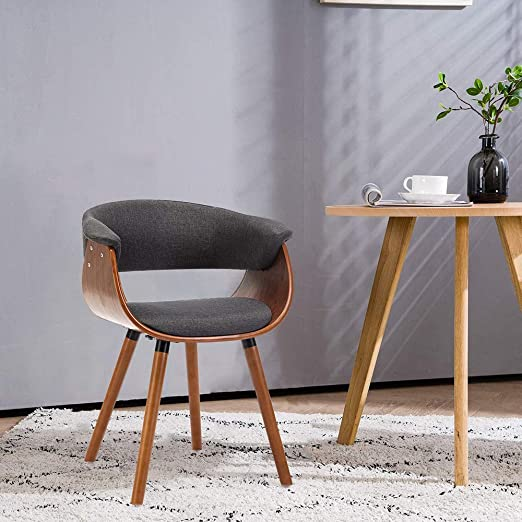 Mingone Armrests Retro Dining Chairs Fabric And Solid Wood Legs Kitchen Chairs Office Computer Chairs Grey Amazon De Kuche Haushalt