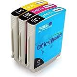 OfficeWorld Reemplazo para 940XL 3 Color Cartuchos de tinta Alta Capacidad Compatible para Officejet Pro 8000 8500 A909A A910A 8500A (1 Cian, 1 Magenta, 1 Amarillo)
