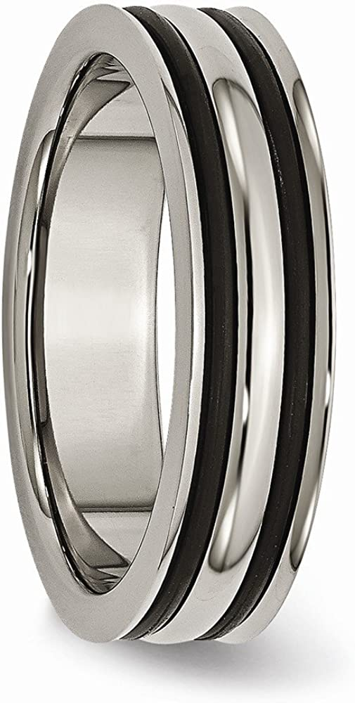 Bridal Wedding Bands Decorative Bands Titanium 6mm Grooved Black Rubber Polished Band Size 12.5