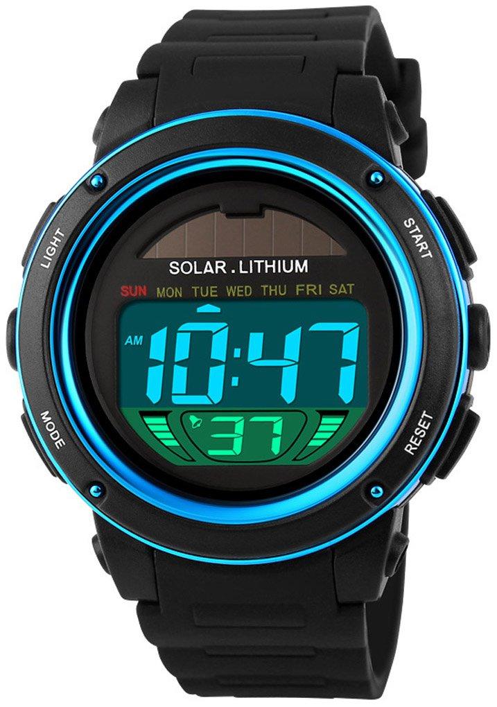 Fanmis S-Shock Multi Function Digital LED Quartz Watch Solar Power Black Sport Watches Blue
