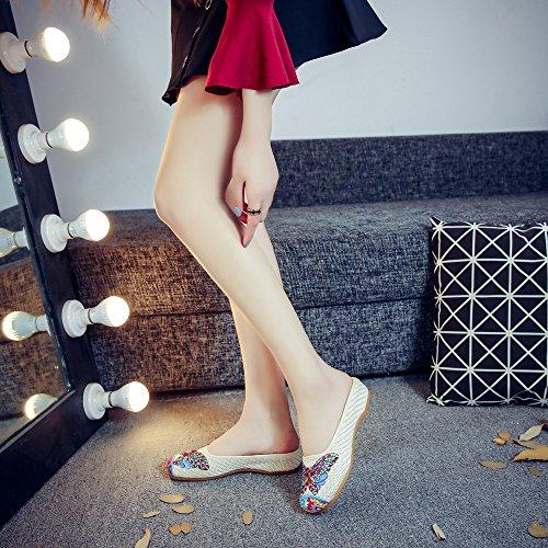 Beige Pantoufles été Mode Femmes à Casual Chaussures la brodé Sandales Butterfly qxpHAFRO