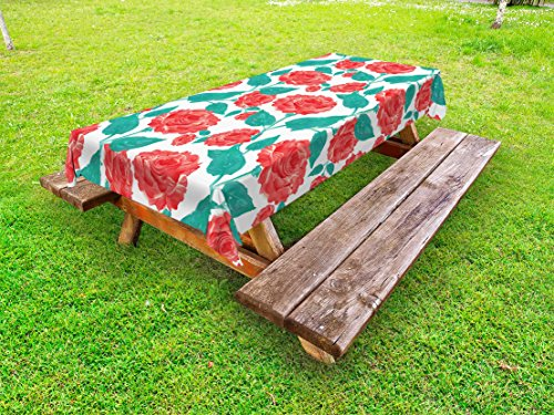 Dinner Fascination - Lunarable Rose Outdoor Tablecloth, Vintage Inspired Pastel Colored Painting of Roses Fascination Retro Love Story, Decorative Washable Picnic Table Cloth, 58 X 84 Inches, Red White Green