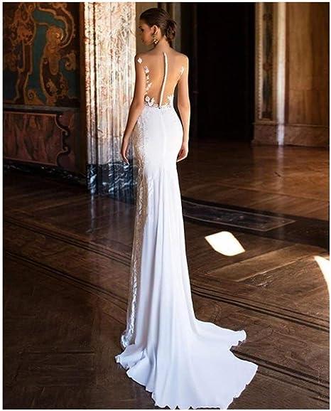QING XIN-1225 Vestido de Novia Apliques Vestido de Novia Vestido de Novia de la Sirena del cordón Atractivo Ver a través de Playa de Back Vestidos de Boda Vestidos Novia (Color :