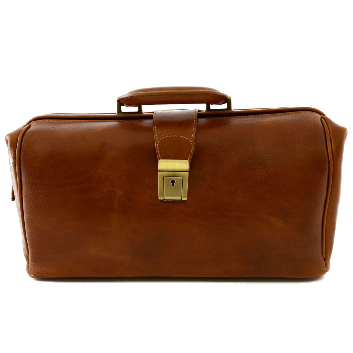 Made In Italy Genuine Leather Bag For Doctor, 1 Compartment Color Cognac - Business Bag B018W385KS