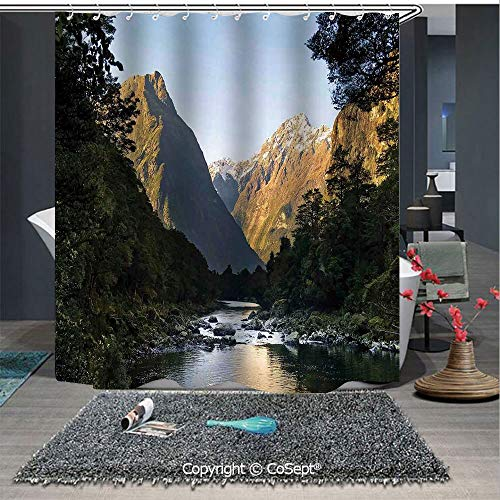 SCOXIXI Easy Care Polyester Shower Curtain,Photo of Stunning Mountains with Snowy Peaks and Valley with River Peace Nature,for Master,Kid's,Guest Bathroom,Standard(70.86