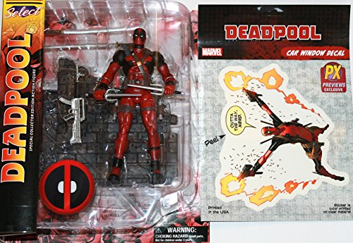 [Diamond Select Toys Marvel Select: Deadpool Action Figure Bundle includes Deadpool Vinyl Window Decal Sticker Set] (Iconic Women In History Costumes)