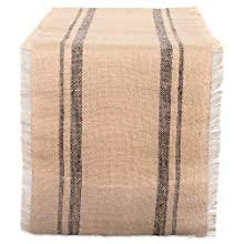 "DII CAMZ38408 Mineral Double Border Burlap Table Runner 14x108"" Gray"