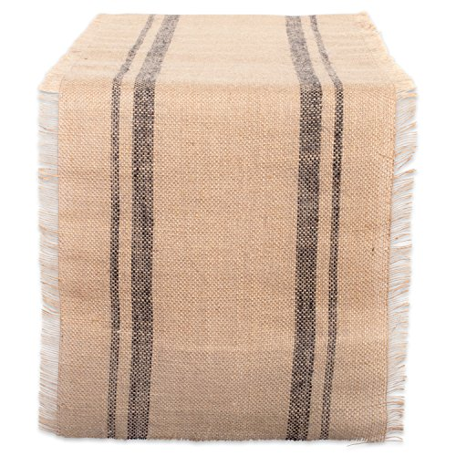 DII CAMZ38408 Mineral Border Burlap Table Runner, 14x108, Double Stripe Gray