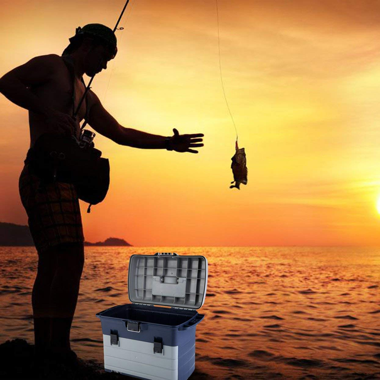 Heavy Duty Fishing Tackle Box 3 Layers Removable Trays Storage Organizer Case Tool Fishing Accessories Lures Bait Storage Box by ToGames (Image #3)