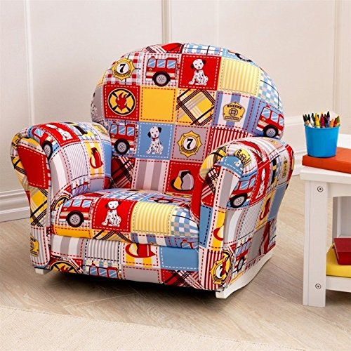 KidKraft Upholstered Rocker with Slip Cover Toy, Firefighter Patchwork by KidKraft