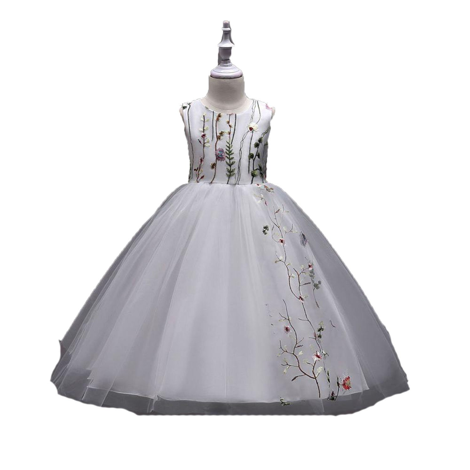 Toping Fine girl dress Knee Length Princess Puffy Embroidery Flower Girl Girls Party Gown Pageant Dresses,White,Child-7 by Toping Fine girl dress (Image #1)