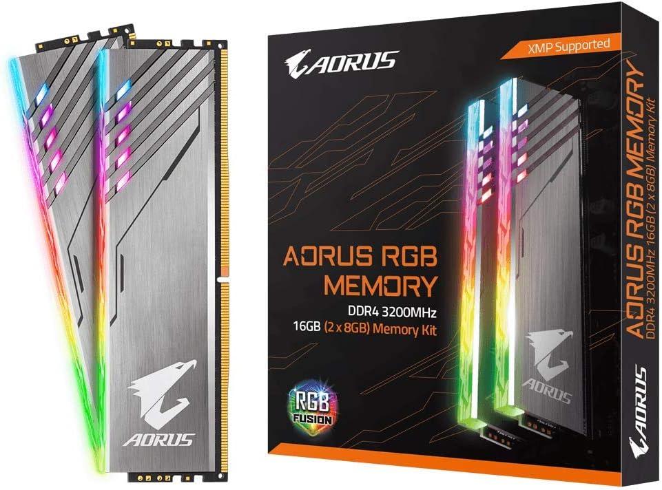 Gigabyte AORUS RGB Memory 3200MHz DDR4 16GB (2x8GB) Kit PC Memory GP-AR32C16S8K2HU416R
