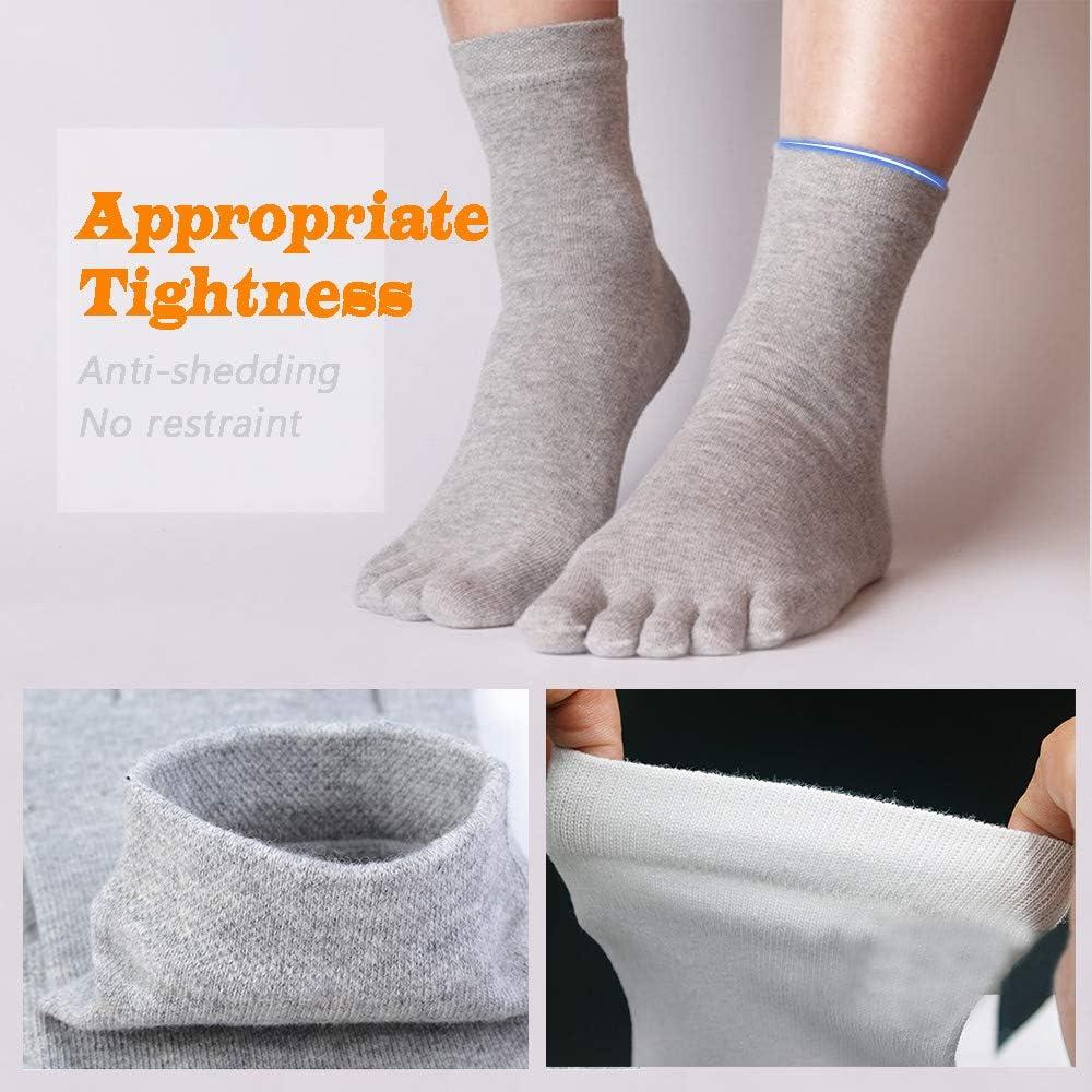 Nero REKYO 6 Pairs Mens Toe Socks Cotone Five Finger Crew Socks per uomo Autunno e Inverno Morbido e confortevole