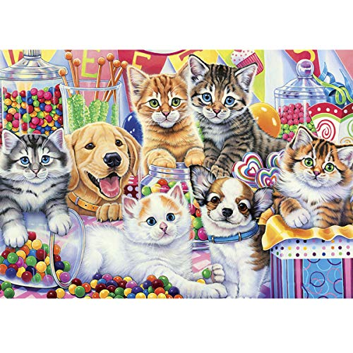 TWBB Diamond Painting DIY 5D Diamond Painting Kit Diamond Painting Full Drill Round Diamond Painting for Adult or Kid,Dog or Cat Pattern Diamond Embroidery,12