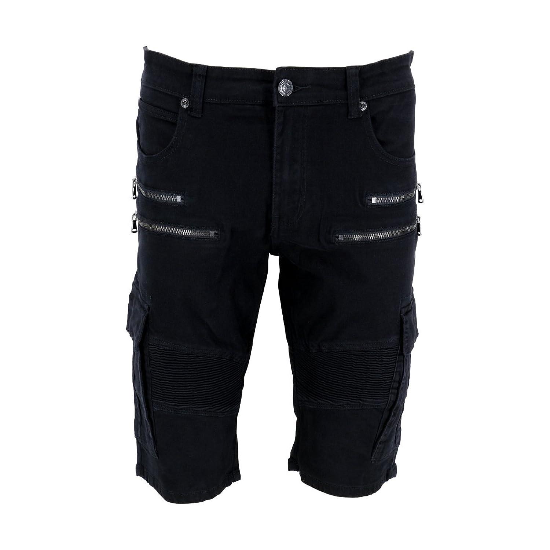 Krome - Men's Moto Zipper Twill Cargo Shorts