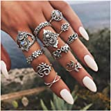 Campsis 11PCS Baroque Women Ring Sets Flower Knuckle Stacking Multi Size Rings Boho Leaf Mid Rings for Women and Girls…