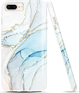 LUOLNH iPhone 8 Plus Case,iPhone 7 Plus case,Bling Glitter Sparkle Gold Marble Design TPU Soft Silicone Cover Case for iPhone 7 Plus/8 Plus/6 Plus/6S Plus(White&Blue)
