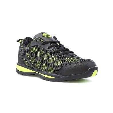 Earth Works Safety Schwarzes und Kalk-Ineinandergreifen-Sicherheit Schuh für Männer durch Earthworks - Größe 7 UK/40.5 EU - Schwarz qrllzgc