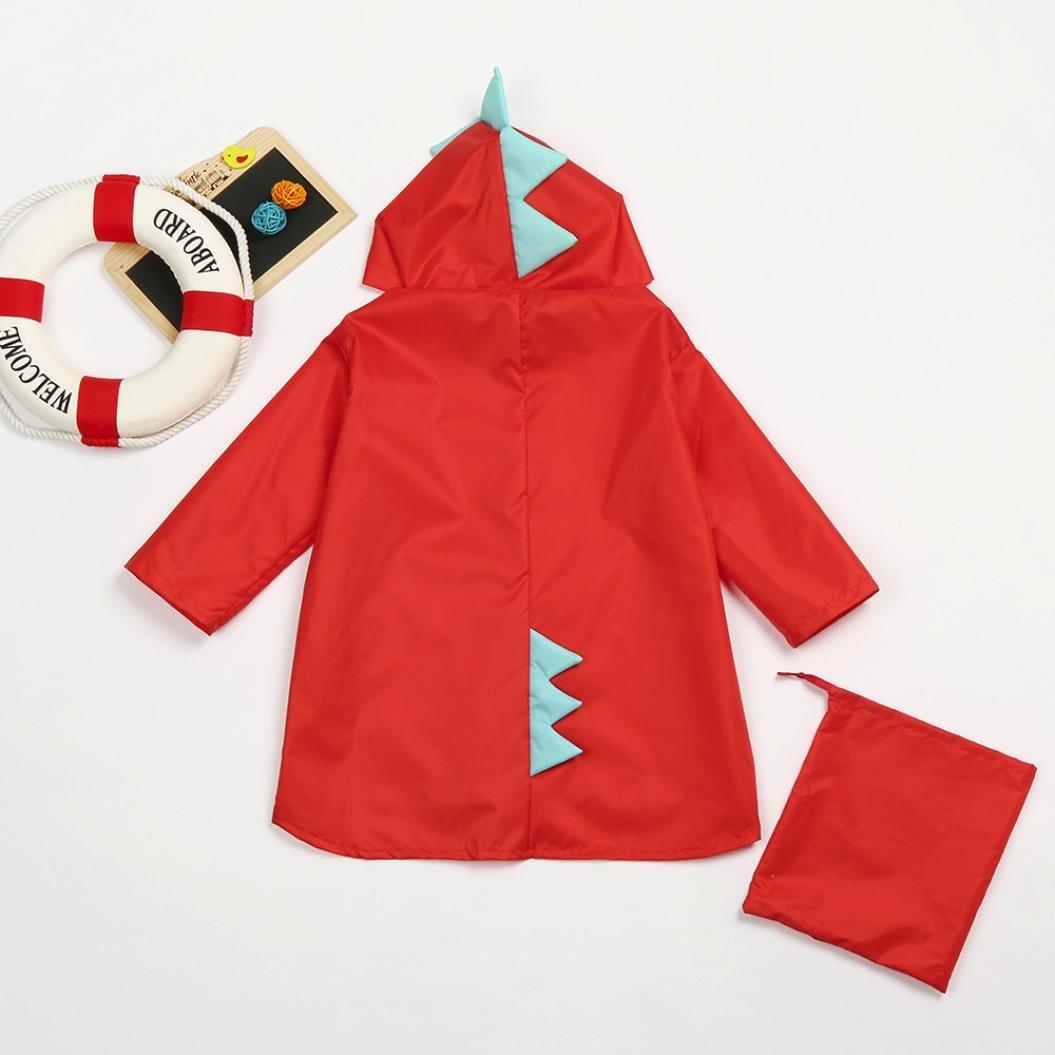 Culater/® Kids Cute Dinosaur Raincoat Unisex Waterproof Windproof Hooded Coat Jacket Rain Poncho for Girls Boys
