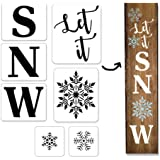 7Pcs Let It Snow Stencil for Painting on Wood, Reusable Porch Sign Christmas Stencil Sturdy and Durable Kit Craft Art…
