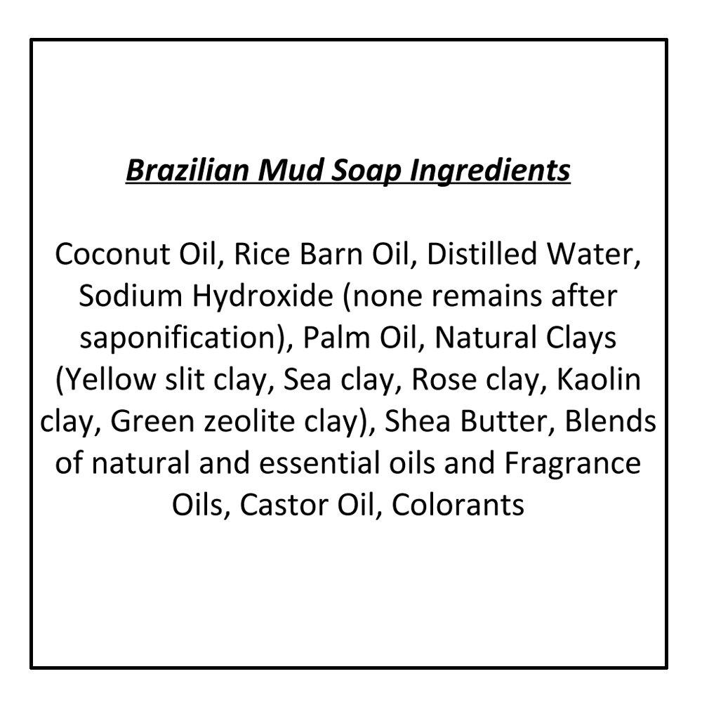 Pastilla de jabón de barro de Brasil con lavanda francesa e hinojo (4 Bar Set)- Jabón orgánico artesanal de arcilla. Jabón corporal y facial hidratante.