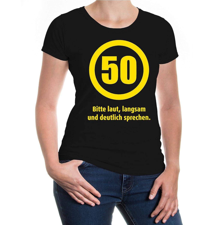 buXsbaum® Girlie T-Shirt 50 Bitte laut, langsam und deutlich sprechen:  Amazon.de: Bekleidung