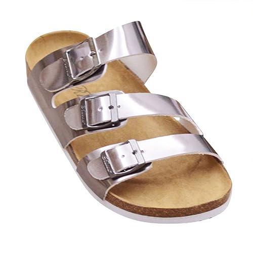Donna Sandali Sughero - Pantofole Eleganti Ciabatte Comodi Argento EU 39   Etichetta 40 ba883b06124
