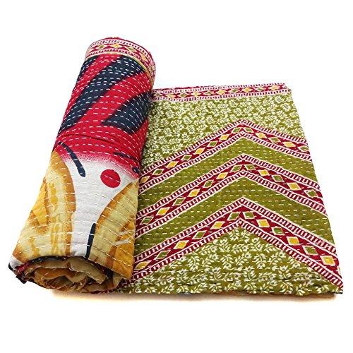 Vintage Kantha Quilt Handmade Indian Cotton Bedspread Sashiko Bedding Ralli