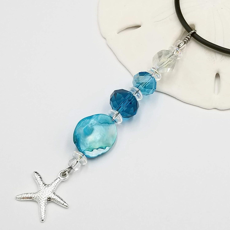 Aqua Seashell Pull Chain with Starfish Charm