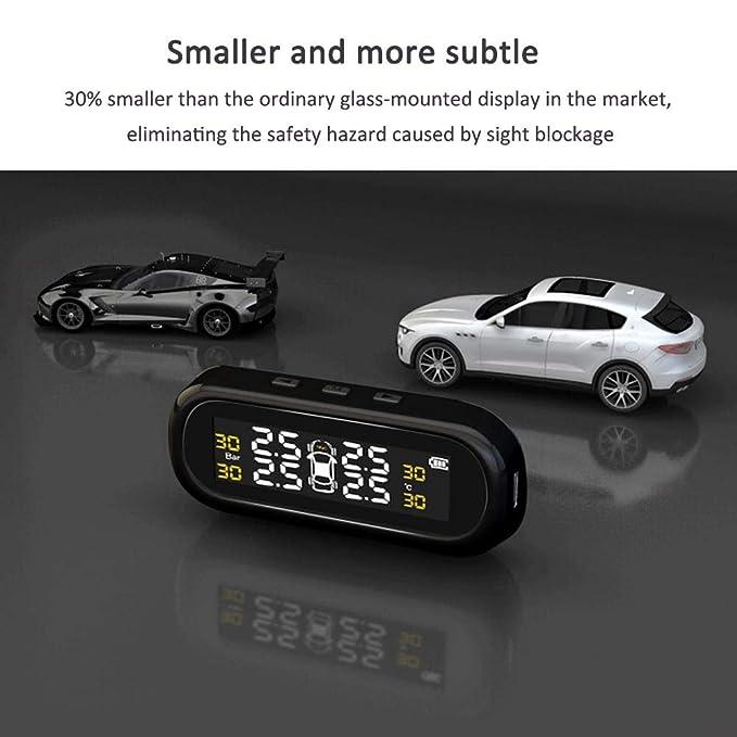 Kabelloses Reifendruck-Kontrollsystem mit LCD-Display und USB-Ladeanschluss Reifendruck und Temperatur anzeigen f/ür Auto Auto Reifendruckmesser System mit Solar-Betrieb Reifendruckkontrollsystem