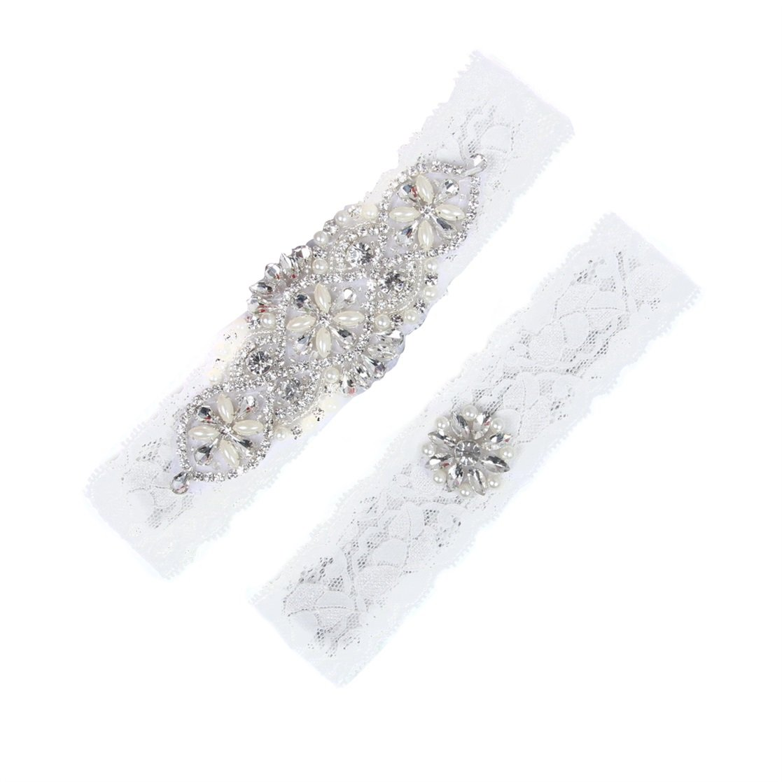 YDTQXG Ladies Bridal Lace Garters Stretch Elastic Garters Set Rhinestones Decor-Ivory QXG0013