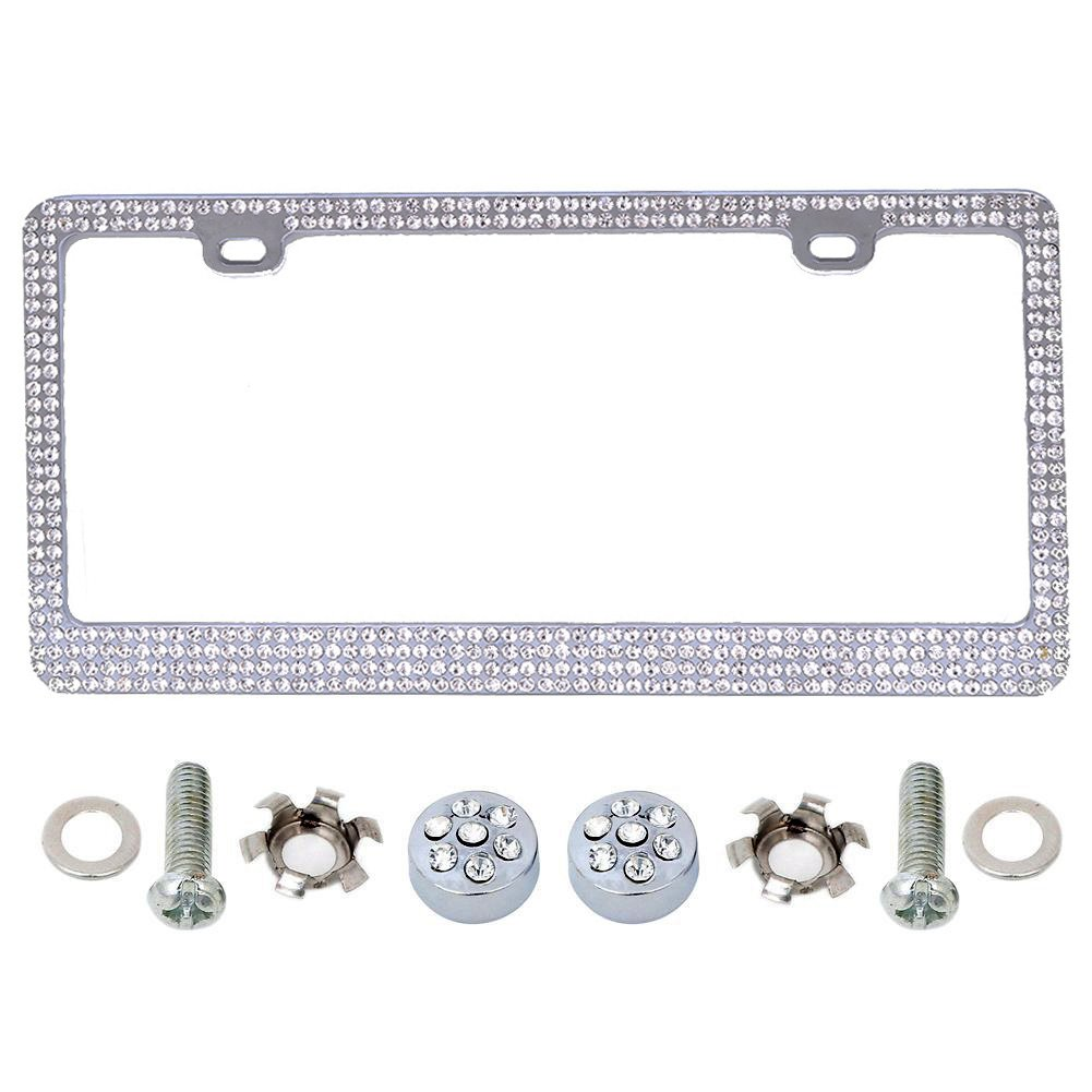 LIANGTU CRAFTS Bling Rhinestone Crystal colour Car License Plate Frame with Bling Caps /& Screws price for 1 pieces