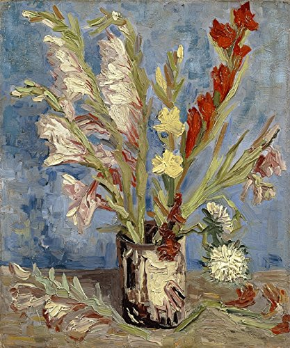 Wieco Art Vase with Gladioli and China Asters by Van Gogh Famous Oil Paintings Reproduction Modern Floral Giclee Canvas Prints Artwork Abstract Flowers Pictures on Canvas Wall Art for Home Decorations ()