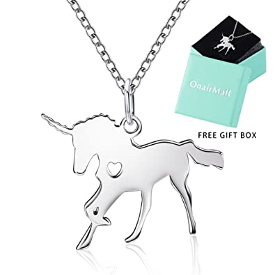 OnairMall Unicorn Jewelry 925 Sterling Silver Dainty Pendant Necklace Best Gift For Women Girl Valentine