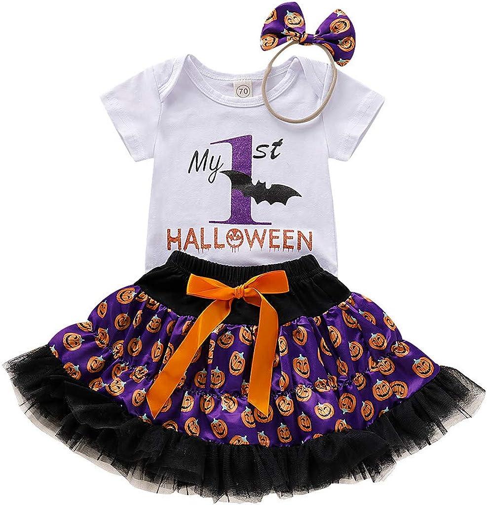 QinMMROPA bebé niñas Halloween Calabaza Estampado Body Tutu Faldas Diadema Conjunto de Ropa Halloween Disfraz Bruja Fantasma Esqueleto Murciélago