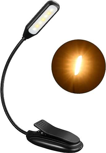 LITOM Luz de Lectura, Luz de Libro Recargable con 60H de Autonomía, 7 LED con 9 Modos de Luz, 360° Flexible Lampara de Lectura Pinza para Lectores Noche, E-Reader, Libro, PC y Tablet