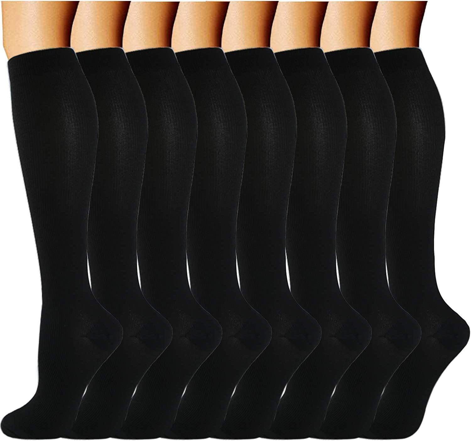 ACTINPUT Compression Socks (8 Pairs) for Women & Men 15-20mmHg - Best Medical,Running,Nursing,Hiking,Recovery & Flight Socks