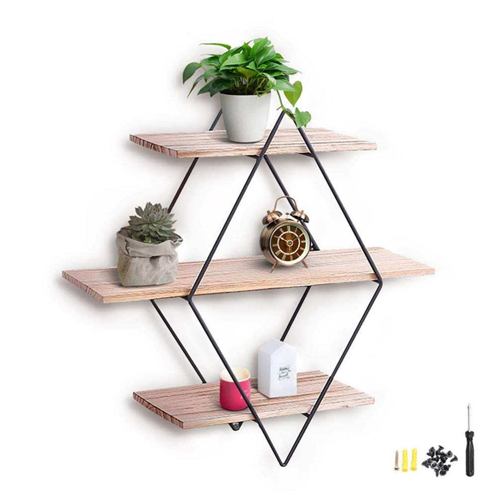 A Wall Shelf European-Style Living Room Wall Hanging Wrought Iron Shelf Retro Creative Solid Wood Shelves Partition Wall Round Floating Display Stand Bookcase Flower Stand HRTCJ