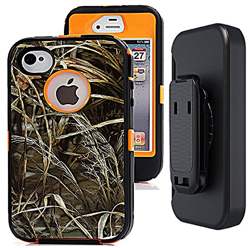 iphone 4s Camo Case with Belt Clip,Auker Heavy Duty Defender Shockproof Natural Tree Camouflage Weather Resistant Anti-slip Tough Rugged TPU Rubber Case with Screen Protector for iphone 4/4s (Grass)