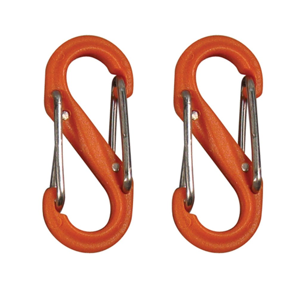 Nite Ize SBP0-2PK-19 S-Biner Plastic Size-0 Double Gated Carabiner, Orange, 2-Pack