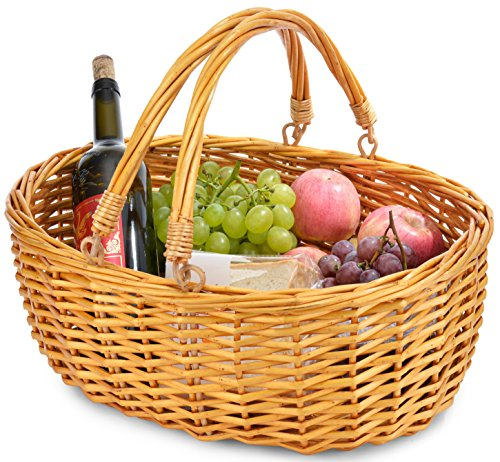 Wicker Basket with Double Folding Handles | Wicker Easter Ba
