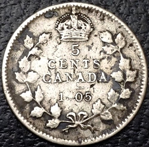 Unbranded 1905 CANADA SILVER 5 CENTS COIN 92.5% SILVER COINWEAK 9 STRIKE