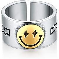 VlinRAS خاتم وجه مبتسم مفتوح قابل للتعديل سمايل باند خاتم بيان لطيف للفتيات والنساء