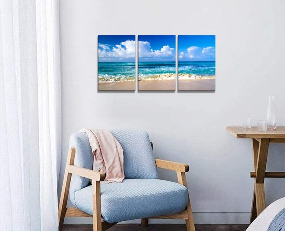 Blue Beach Theme Modern Stretched and Framed Seascape 3 Panels Giclee Canvas Prints Artwork Landscape Pictures Paintings on Canvas Wall Art for Home Decor Ready to Hang
