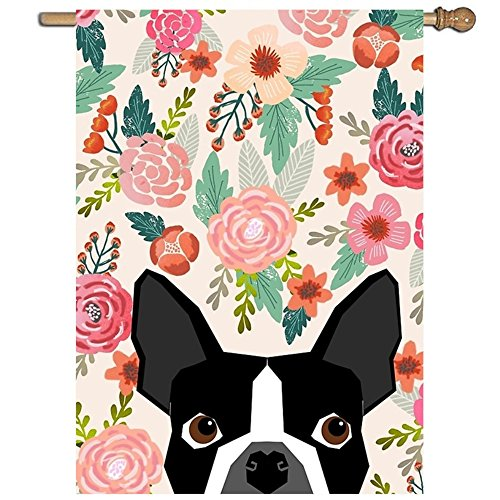 XASFF Boston Terrier Florals Pattern Print Flowers Spring Summer Cute Dog Portrait Art Print Dog Breed Gifts For Dog Person Garden Flag Decorative 1 Sided Vertical Flag 27