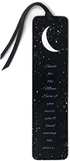 product image for Shoot for The Moon Quote - Wooden Bookmark with Suede Tassel